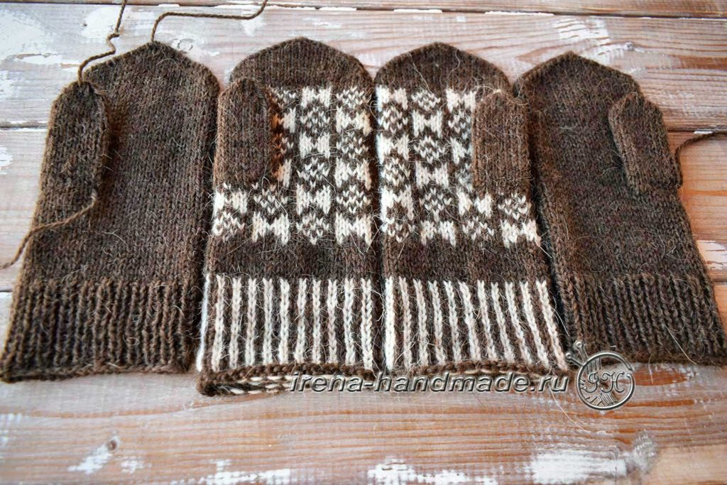 Варежки с жаккардом «Околица» - соединение деталей