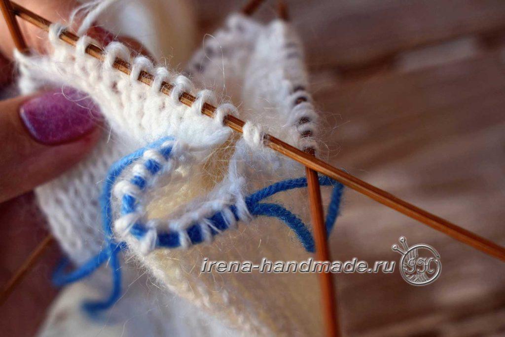 Варежки «Зимняя рапсодия» - отделение петель пальца